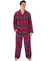 Mens Plaid Flannel Pajamas, Long Cotton Pj Set