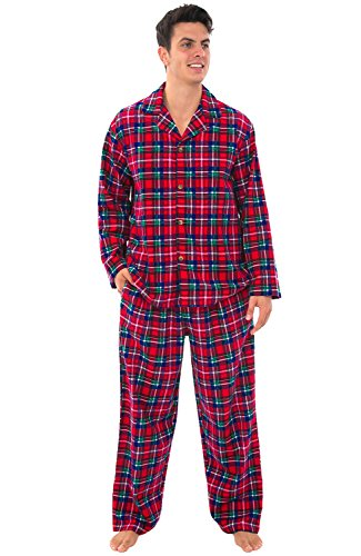 Alexander Del Rossa Mens Flannel Pajamas, Long Cotton Pj Set, Large Red Green and Blue Christmas Plaid (A0544Q19LG)