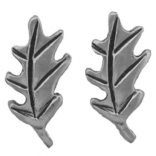 (Sterling Silver White Oak Leaf Post Earrings)
