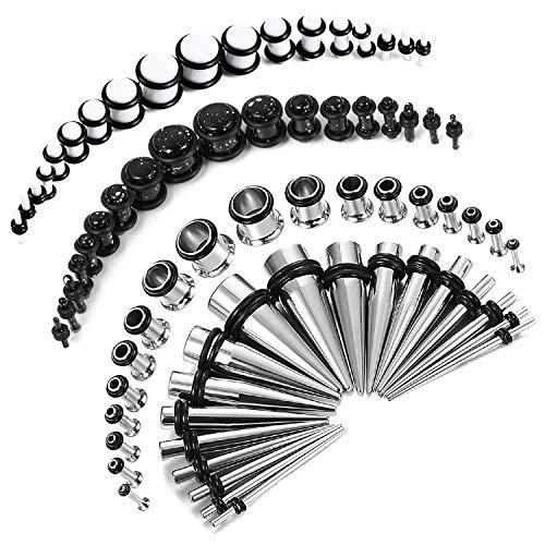 BodyJ4You 72PC Gauges Kit Black White Splatter Paint Acrylic Plugs Steel Tapers 14G-00G Stretching Set