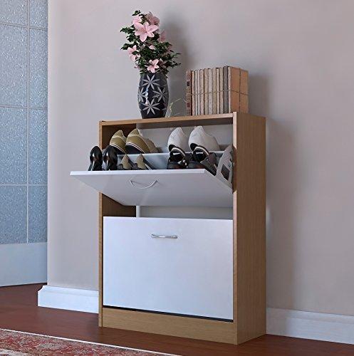 (Shoe Cupboard White Oak Two Tone 2 Door Pull Down Cabinet Shoe Tidy Oxford by Brown Source)