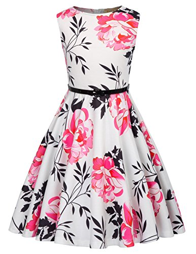 Girls Cute Floral Printed 50s Vintage Casual Homecoming Dress 7-8 Years K884-2