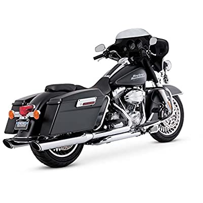 Vance & Hines 16763 Twin Slash 4 Rounds Chrome Slip On Mufflers For Harley-Davidson Touring 1995-2016 Bikes: Automotive
