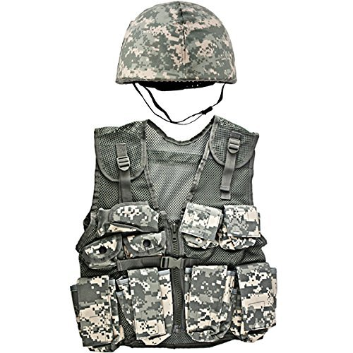 Kids-Army ACU Helmet and Kids ACU Combat Vest (Army Costumes Girls)