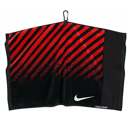 Nike Face/Club Jacquard Towel (Black (N87511) / Red/Silver, One Size) by Nike