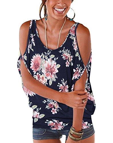 Sexy Marine Chic Round paules t Tops Ouvertes Femme Manches Bleu YOINS Batwing Floral Haut Dnudes avec Imprime Col Demi Lache Noues Blouse nXESqxz4