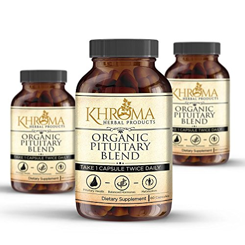 Organic Pituitary Blend – 60 Vegan Capsules in a Glass Bottle – For Maximum Pituitary Support – by Khroma Herbs