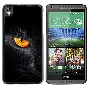 LECELL -- Funda protectora / Cubierta / Piel For HTC DESIRE 816 -- Black Cat Fire Eye --