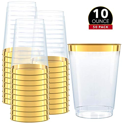 Gold Plastic Clear Cups | 10 oz. 50 Pack | Disposable Party Cups with Gold Rim | Fancy Wedding Tumblers | Elegant Party Supplies & Decorations | Old Fashioned Tumblers [Drinket Collection]