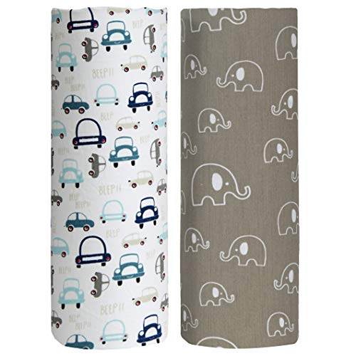 Cuddles & Cribs 2 Pack GOTS Certified Organic Cotton Fitted Crib Sheet - Cars,Elephant