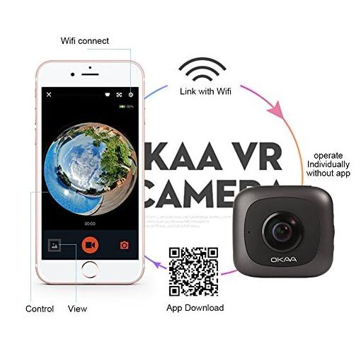 VR 360 Camera, OKAA Life Wireless Panoramic Camera IPX4 Waterproof