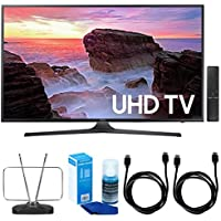 Samsung UN43MU6300 43 4K Ultra HD Smart LED TV (2017 Model) w/ TV Cut The Cord Bundle Includes, Durable HDTV & FM Antenna, 2x 6ft. High Speed HDMI Cable & Screen Cleaner (Large Bottle) for LED TVs
