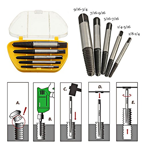 Drill Out Broken Bolt Extractor (【Best Deals】OriGlam 5PCS Screw Extractor Easy Out Set Drill Bits, Guide Broken Damaged Bolt Remover Tools Kit Set 3-19mm)