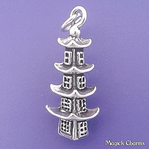 Sterling Silver 3-D PAGODA Japanese TEMPLE Chinese Charm Pendant - lp3129 Jewelry Making Supply Pendant Bracelet DIY Crafting by Wholesale Charms