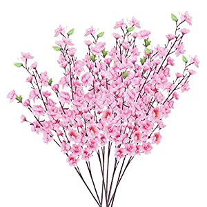 10 Bunch Artificial Peach Blossom Flower Bouquet w/ 3 Fork Stems for Home Office Decor Pink 58