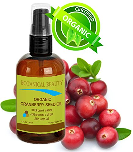 """ORGANIC CRANBERRY SEED OIL 100% Pure / Natural / Undiluted/ Virgin. Cold Pressed Carrier Oil. For Face, Hair and Body. 2 fl.oz -60 ml. """"One of the richest natural sources of vitamin A and a remarkable and stable source of omega 3 and 6, vitamins E and min"""