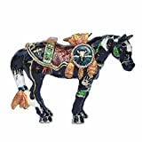 Horse Trinket Box Metal Enameled Animal Figurine Collectable Wedding Jewelry Ring Holder Organizer (Black)