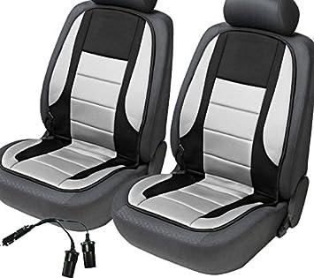 2x Beheizbare Sitzauflage Sitzheizung Hot Stuff Doppelsteckdose Für 12v Zigarettenanzünder Schwarz Grau Auto