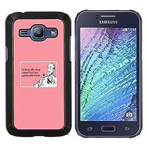 KLONGSHOP // Cubierta de piel con cierre a presión Shell trasero duro de goma Protección Caso - Soporte Vino Bebida Cita divertida rosada Hombre - Samsung Galaxy J1 J100 //