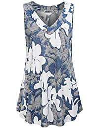 Women's V Neck Short Sleeve Floral Print Blouse Tops Fashion Casual Tunic Shirts