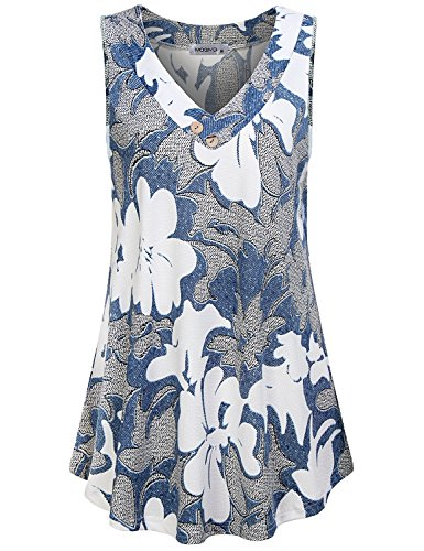 MOQIVGI V Neck Tank Tops for Women,Juniors Casual Loose Fit Nice Printed Feminine Blouses Sleeveless Spring Summer Wear Clothes Comfy Cool Breezy Flower Tunic Shirts Multicoloured Blue XX-Large