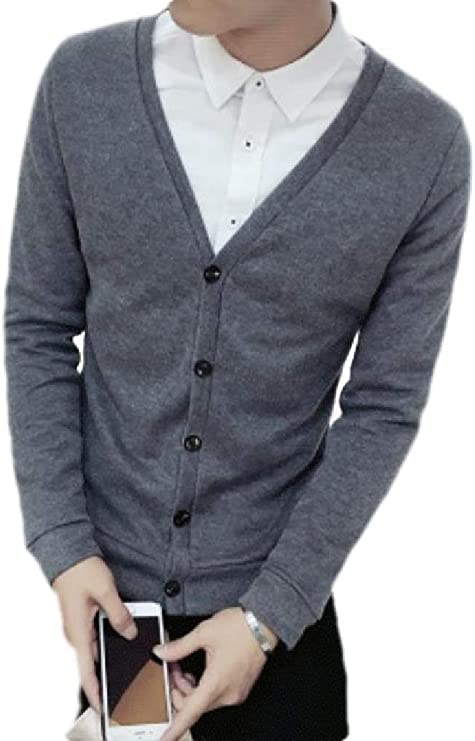 Cromoncent Mens Casual Autumn Solid Color V-Neck Open Front Knit Cardigan