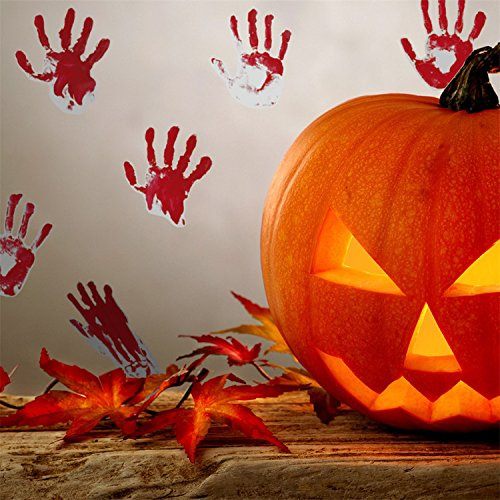 VancyTop Blood Handprints Pattern Halloween DIY Removable Wall Stickers for Home Living Room Party Kids' Room Nursery Decorations (Halloween Backdrops Uk)