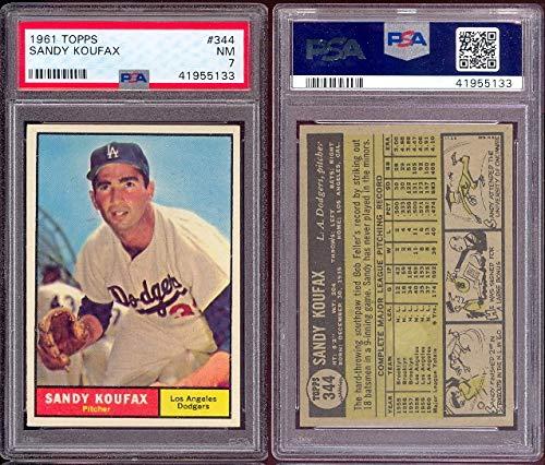 1961 Topps Regular (Baseball) card#344-psa Sandy Koufax (psa) of the Los Angeles Dodgers Grade Near Mint