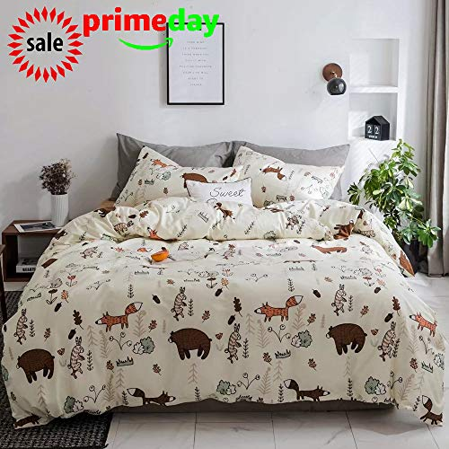 CLOTHKNOW Yellow Bear Duvet Cover Sets for Toddler Kids Child Twin Size Bedding Sets Woodland Theme Girls Boys Gift Fox Animal Forest 100 Cotton Set of 3-1 Duvet Cover Zipper Closure 2 Pillowcases ()