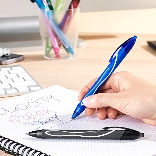 BIC Gel-ocity Quick Dry Retractable Gel Pen, Medium Point (0.7mm), Black, 12-Count