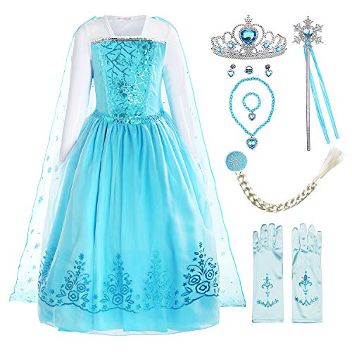 ReliBeauty Girls Sequin Princess Elsa Costume Long Sleeve Dress up, Light Blue(with Accessories), 4(120)
