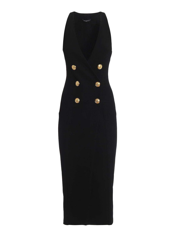 Balmain Women's RF16409V0250PA Black Viscose Dress