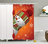Snowman Shower Curtain Christmas Shower Curtain Snowman by Ambesonne, Cute Christmas Shower Curtain Funny with Mittens and Hat and Scarf Merry Christmas Themed Bathroom Set, Polyester Fabric with Hooks, Red White