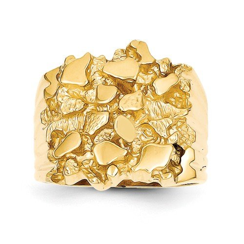 - Size - 10.5 - Solid 14k Yellow Gold Men's Nugget Ring (5 to 20 mm)
