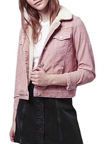 [ACHICGIRL Women's Fashion Turn Down Collar Corduroy Jacket, Pink S] (Womens Pink Corduroy)