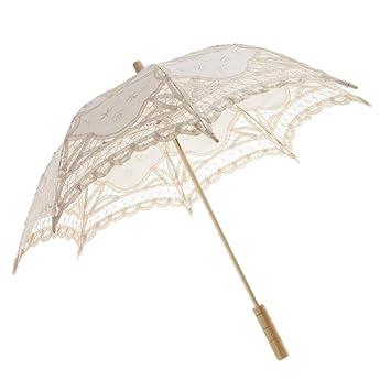 Sharplace Paraguas Vintage Cordón de Algodón Mini Paraguas Nupcial de Muchachas - Beige, 76cm