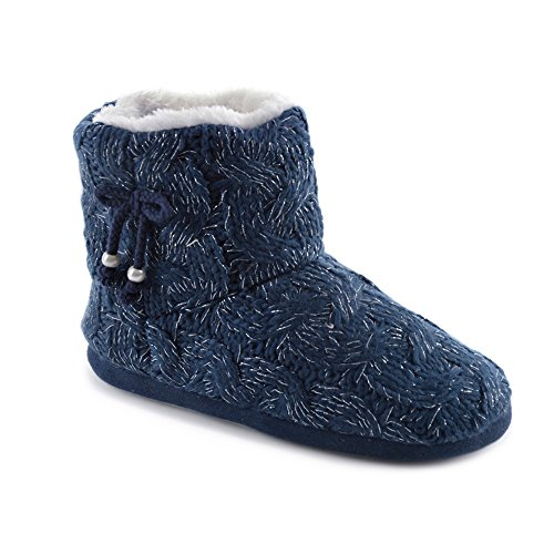 Amazing Health Warm Ankle Boot Slippers for Women and Girls Navy Sni7sn