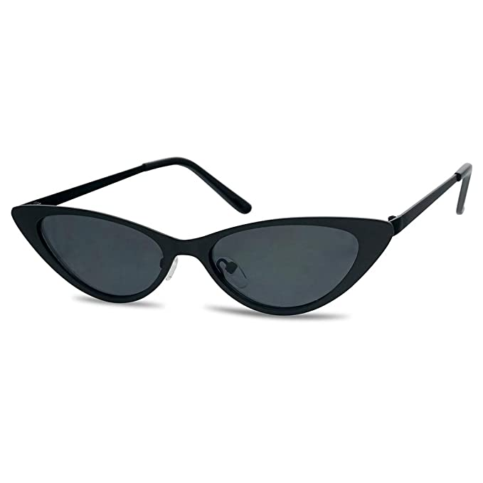 be1ff9d8a0b72 SunglassUP Sexy 90 s Vintage Flat Metal Oval Streamlined Cat Eye Sunglasses  (Black Frame