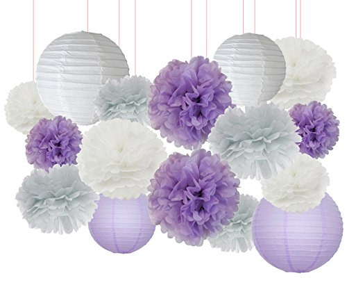 Furuix 16 Pcs White Lavender Grey Purple 10inch 8inch Tissue Paper Pom Pom  Paper Lanterns Mixed Package For Lavender Themed Party Bridal Shower Decor  Baby ...