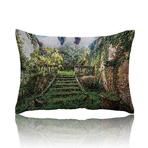 (homehot Nature Mini Pillowcase Ancient Fairytale Theme Hidden Garden with Botanic Trees Flowers Ivy Image Print Fun Pillowcase 20