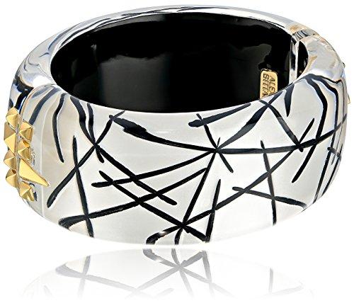 - Alexis Bittar Studded Hinge Rutilated Silver Bangle Bracelet