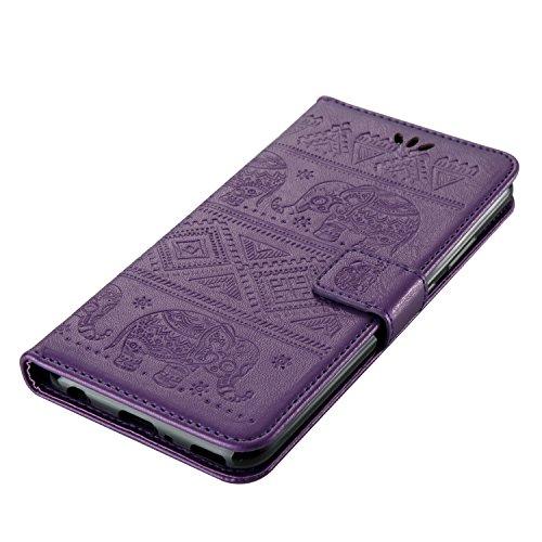 Für Huawei P10 Premium Leder Schutzhülle, weich PU / TPU geprägt Textur Muster Horizontale Flip Stand Case Cover mit Lanyard & Card Cash Holder ( Color : Purple )