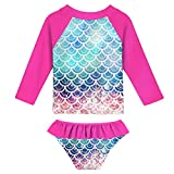 UNIFACO Girl Swimsuit 3D Fish Scale 2 Pieces Red