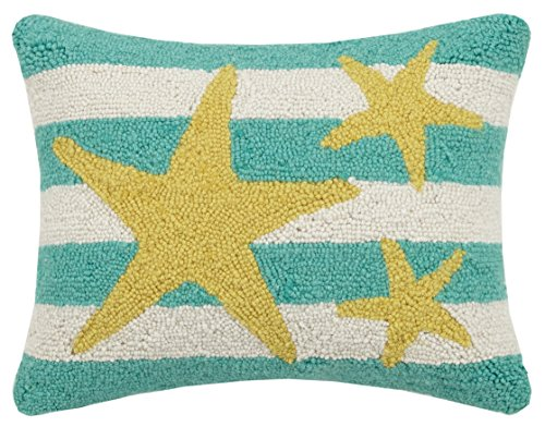 (Peking Handicraft Starfish Stripe Hook Pillow, Turquoise)