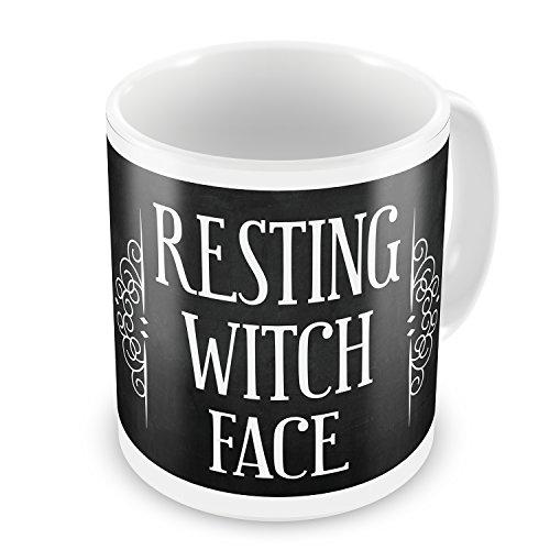 Coffee Mug Resting Witch Face Halloween Haunting Flourish