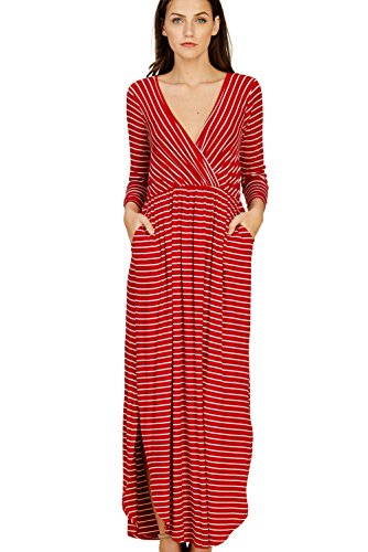 Annabelle Women's Knit Stripe Print Quarter Sleeve V-Neck Wrap Maxi Dress with Round Hem and Side Slit Red-Ivory Small D5389