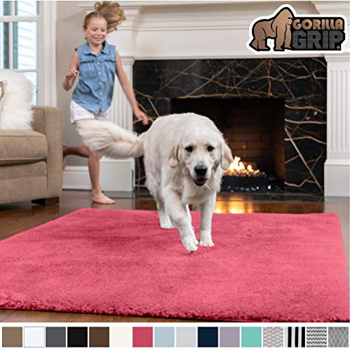 Gorilla Grip Original Faux-Chinchilla Area Rug, 5x7 Feet, Super Soft and Cozy High Pile Washable Carpet, Modern Rugs for Floor, Luxury Shag Carpets for Home, Nursery, Bed and Living Room, Hot Pink (Carpet Shag Pink Hot)