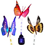 Homeleo Outdoor Solar Butterfly Stake Lights, 3 Pack Fiber Optic Butterfly Solar Powered Lights, Decorative Solar Patio Lawn Lamp, LED Tube Light Stake for Garden Path Landscape Decor For Sale