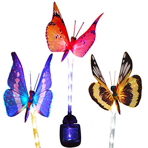 Homeleo Outdoor Solar Butterfly Stake Lights, 3 Pack Fiber Optic Butterfly Solar Powered Lights, Decorative Solar Patio Lawn Lamp, LED Tube Light Stake for Garden Path Landscape Decor