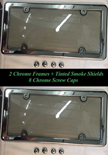 2 UNBREAKABLE TINTED SMOKE LICENSE PLATE SHIELD COVERS + 2 CHROME FRAMES + 8 CHROME SCREW CAPS